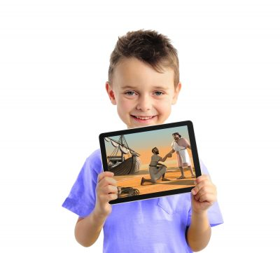 "Young boy holding iPad with ""Jesus and the miraculous catch of fish"" bible video lesson from Family Bible Films"