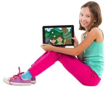 Young girl holding iPad watching Adam and Eve on Family Bible Films