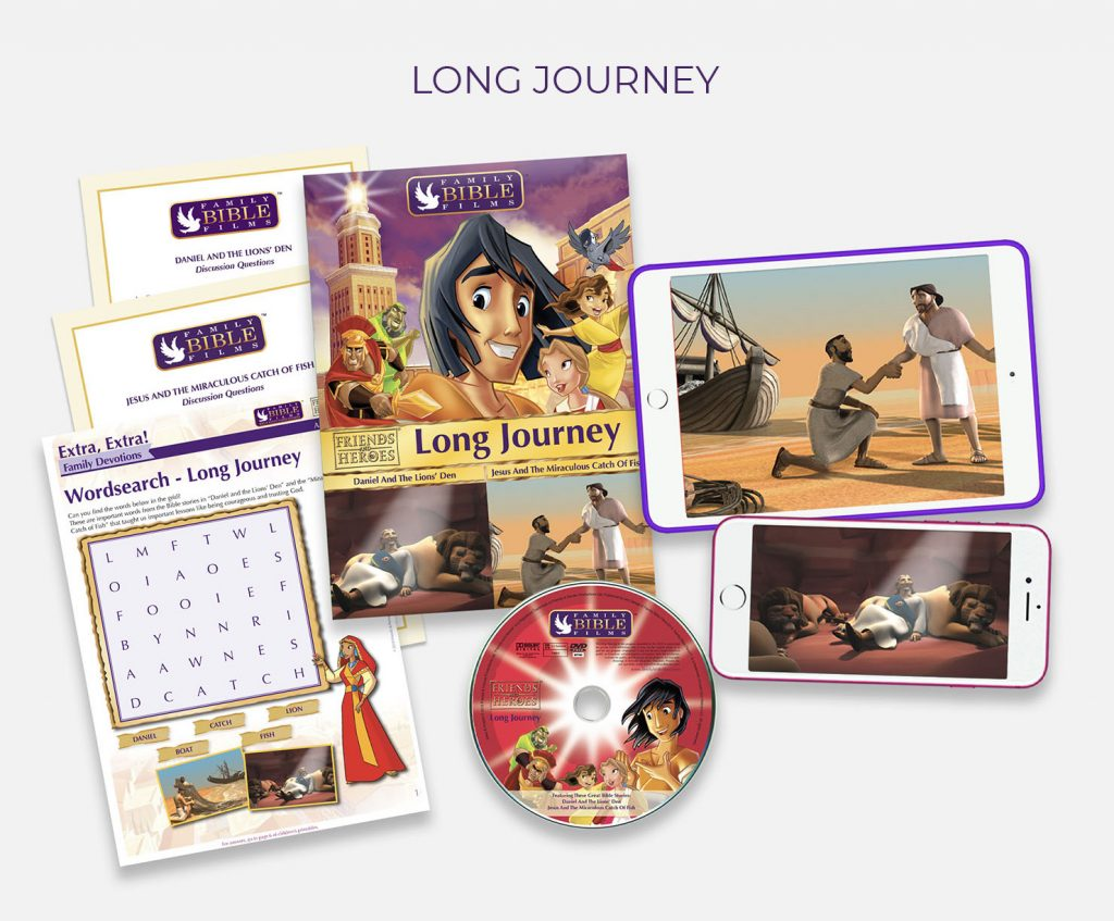 "Long Journey video lesson featuring ""Jesus and the Miraculous catch of fish"" and ""Daniel and the Lion's Den"""